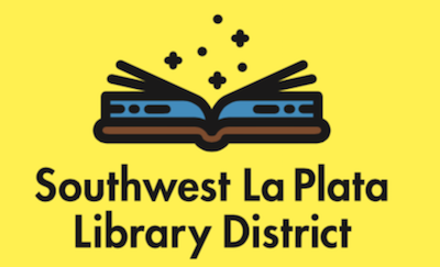 Open blue book, against yellow background, imagine the possibilities, Southwest La Plata Library District Logo