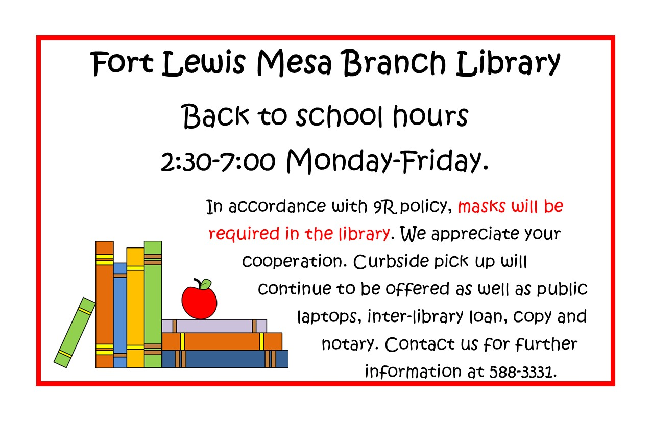 New FLM Library hours 2:30 - 7:00 Monday - Friday