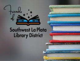 LOGO - Friends of SWLPLD and stack of books